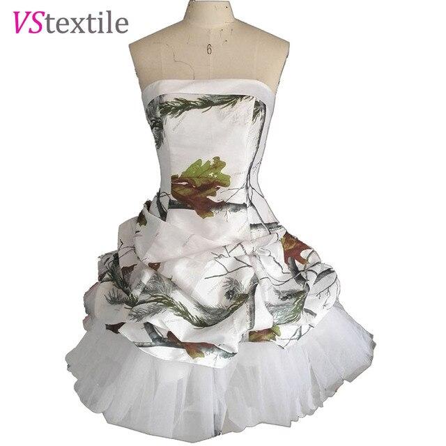 realtree white camo short cocktail party dresses 2019 vestido de festa  camouflage wedding party dress 8d617f2341e9