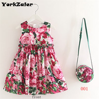 2017 Summer New Arrival Girls Dress With Bag Kid Sundresses Princess Dress Bag Set Print Flower