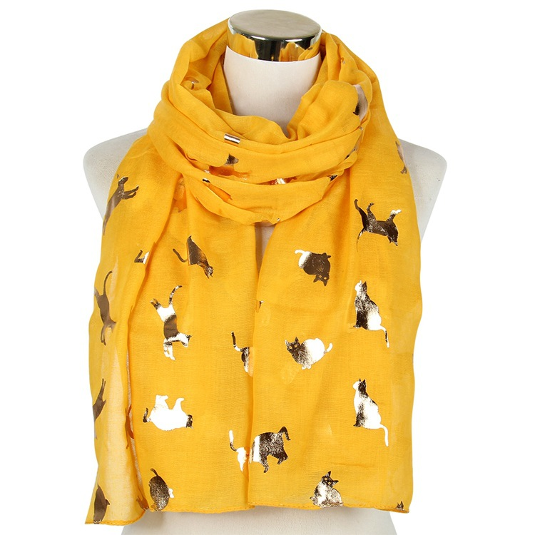 Cat Gilding Scarf 100%polyester Spring And Summer Cute Animal Shawl 70*180CM Large Casual Korean Style High Quality Scarf