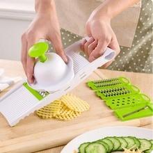 Mandolina Slicer Cortador de Verduras multifunción Herramientas de Cocina ABS Con 5 Cuchillas Zanahoria Patata Ralladores de Cocina Accesorio