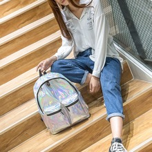 Fashion Women Leather Backpacks Holographic Hologram Laser Backpack School Bag Rucksack Travel Bags 2018 New celldeal mini hologram ladies women backpacks laser leather holographic mini multicolor for student school bags pink silver