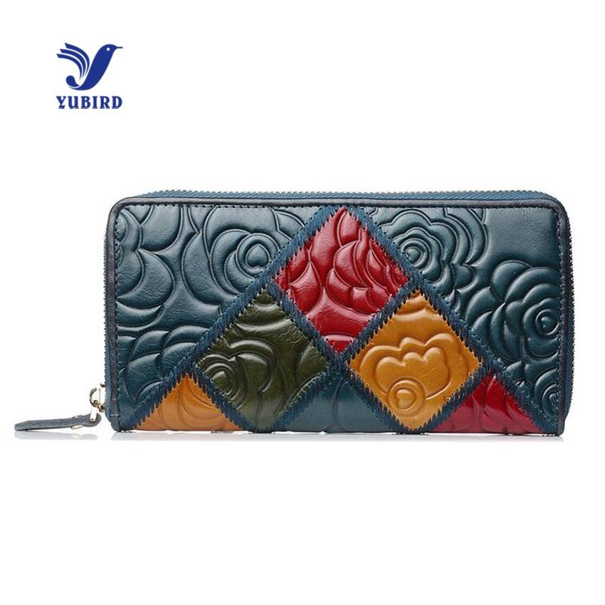 YUBIRD Brand Women Wallet Genuine Leather Ladies Clutch Vintage Flower Embossed Patchwork Phone Wallet Women Luxury