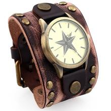 b99fb8b4de2 New Vintage Retro Larga Pulseira de Couro Genuíno Assista Men Moda Estrela  Rosto Relógios de Pulso