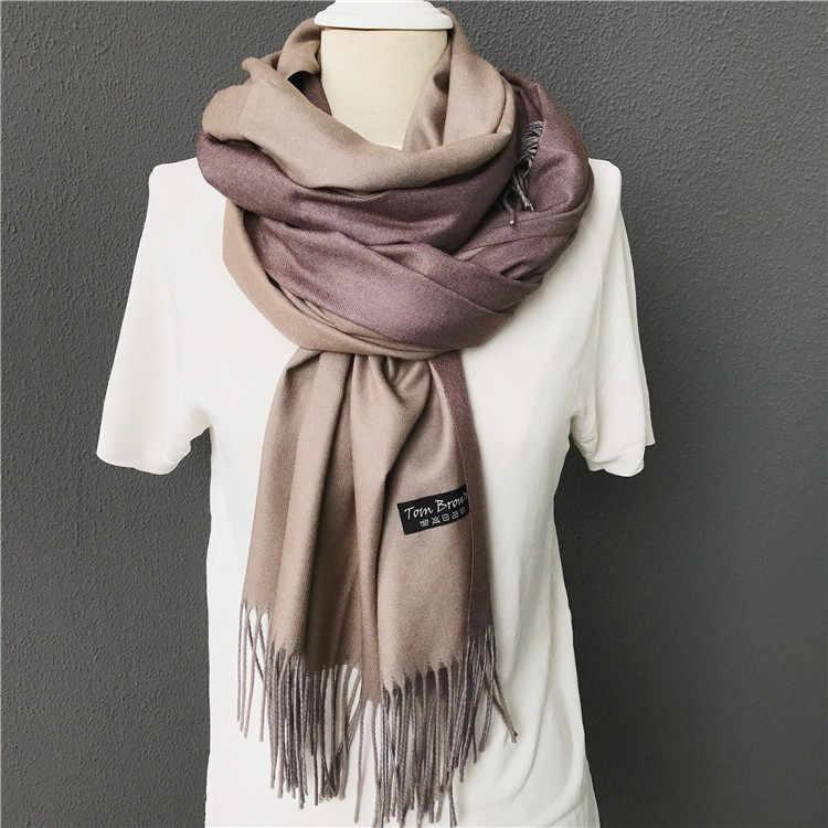 Bufanda de Invierno para mujer, poncho de marca de lujo, chales pashmina, bufandas suaves de Cachemira de doble cara, chales y chales, bandanascarf winte