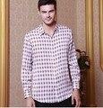 2017 de Alto grado de seda de los hombres 5 camisa con mangas largas de hangzhou de alta calidad 100% camisa de seda de morera en satén de seda blockbuster