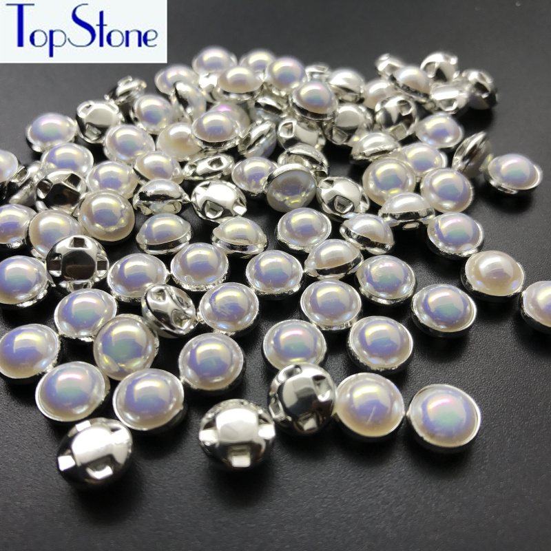 Topstone 100pcs 8mm Sewing Multi AB Crystals Pearls Beads Silver Claw Rhinestones Round Opal Sew On Stones For Clothes T004