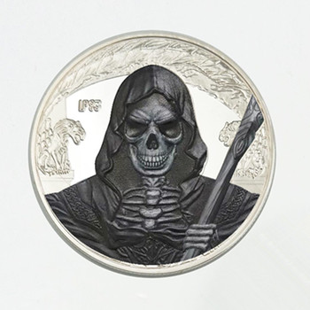 20 pcs The black Ghost Scream killer coins silver plated Halloween evil sprits monsters 40 mm badge souvenir decoration coin