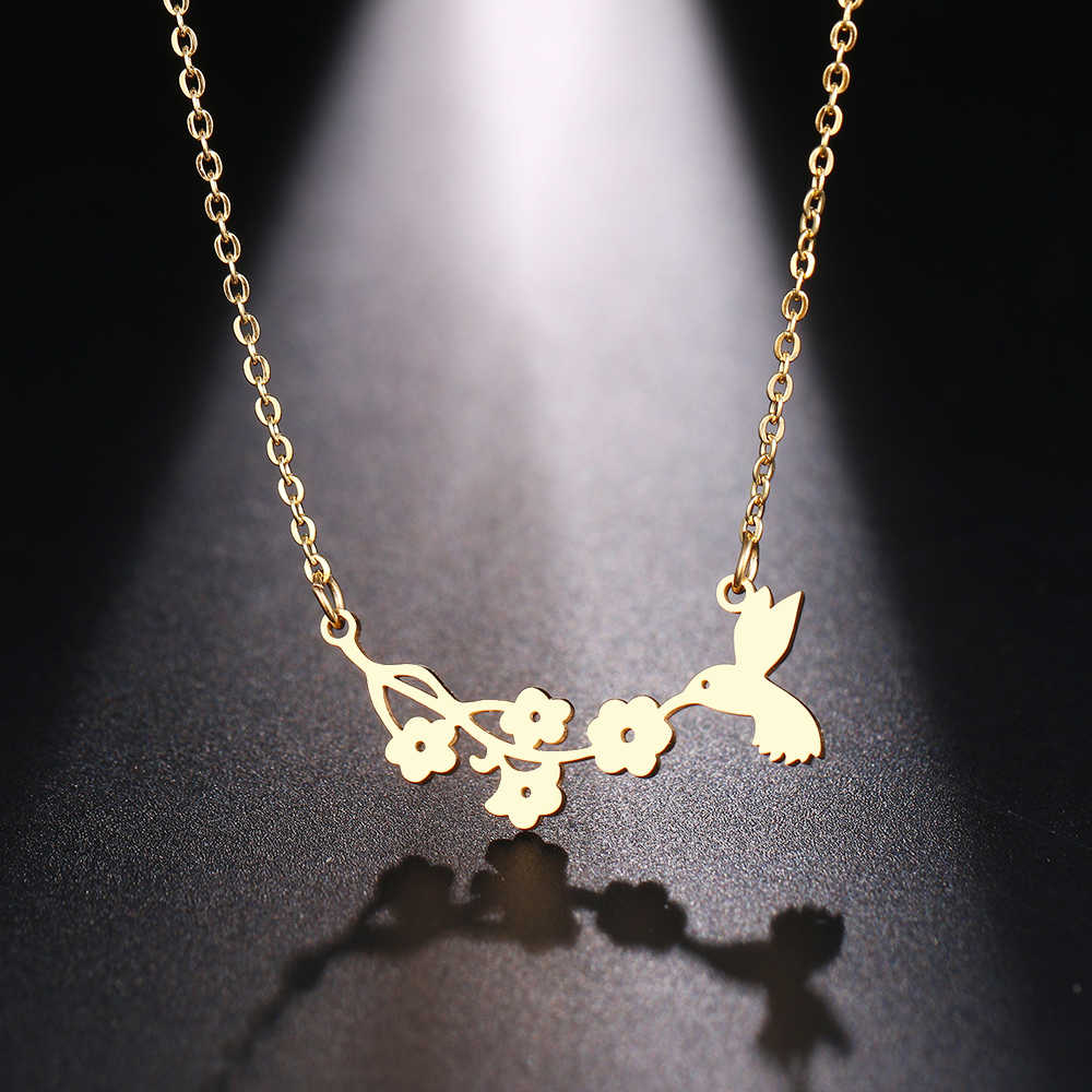 DOTIFI  Stainless Steel Necklace For Women Man Bird And Flower Gold And Silver Color Pendant Necklace Engagement Jewelry