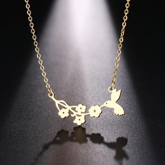 Dotifi aço inoxidável colar para mulher homem pássaro e flor ouro e prata cor pingente colar noivado jóias