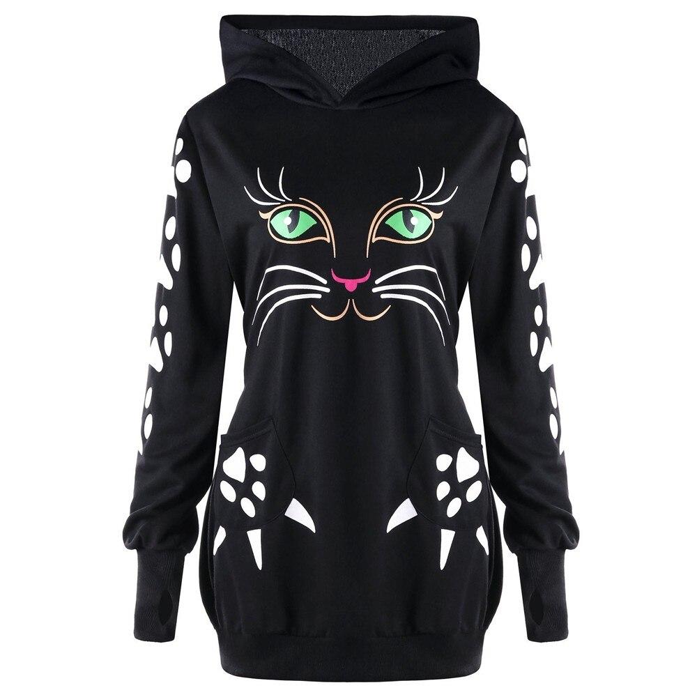 EntrüCkung Sweatshirt Frauen Katze Hoodies Footprint Tasche Lange Sweatshirt Tier Druck Harajuku Winter Moletom Feminino