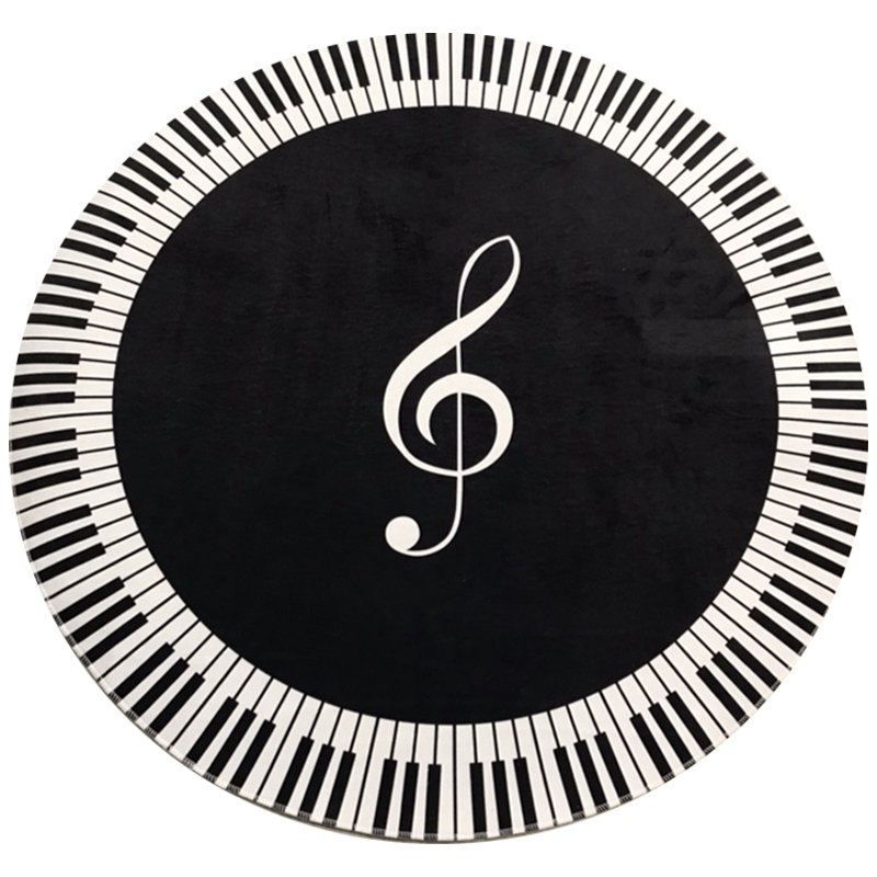 New Carpet Music Symbol Piano Key Black White Round Carpet Non-Slip Carpet Home Bedroom Mat Floor Decoration