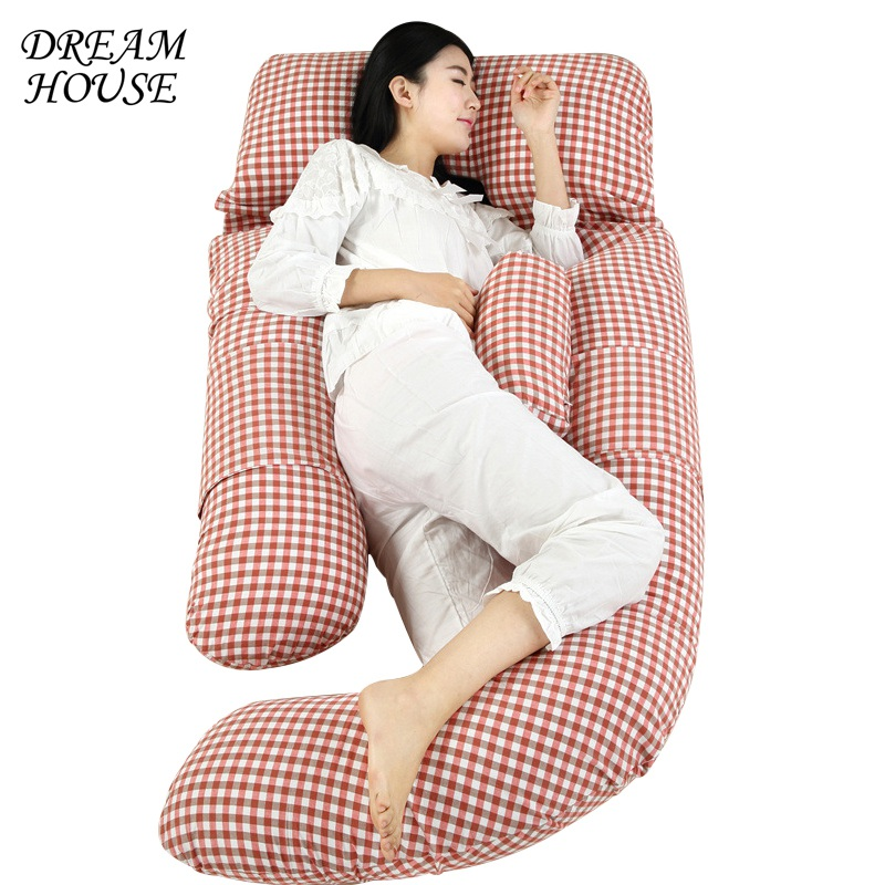 Cotton Sleeping Support Pillow for Pregnant Women Body Make The Baby Comfortable Cotton Striped Side Sleeper Pro U Shape Pillow simba organic cotton baby pillow