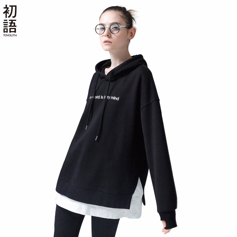 Toyouth Sudadera Mujer 2019 Patchwork Autumn Hoodies Embroidery Letters Long Sleeve Hooded Sweatshirts Harajuku Tracksuit Female