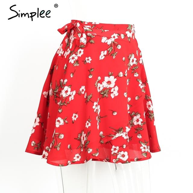Simplee Boho red print chiffon skirts women Vintage party ruffles short skirt Casual high waist summer beach skirt