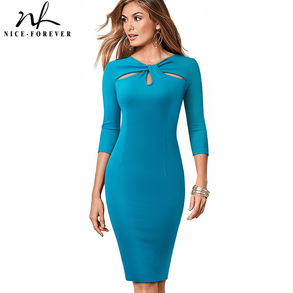 Nice-forever Vintage Elegant Solid Pure Color Hollow Out vestidos Business Party Bodycon Office Work Women Dress B485