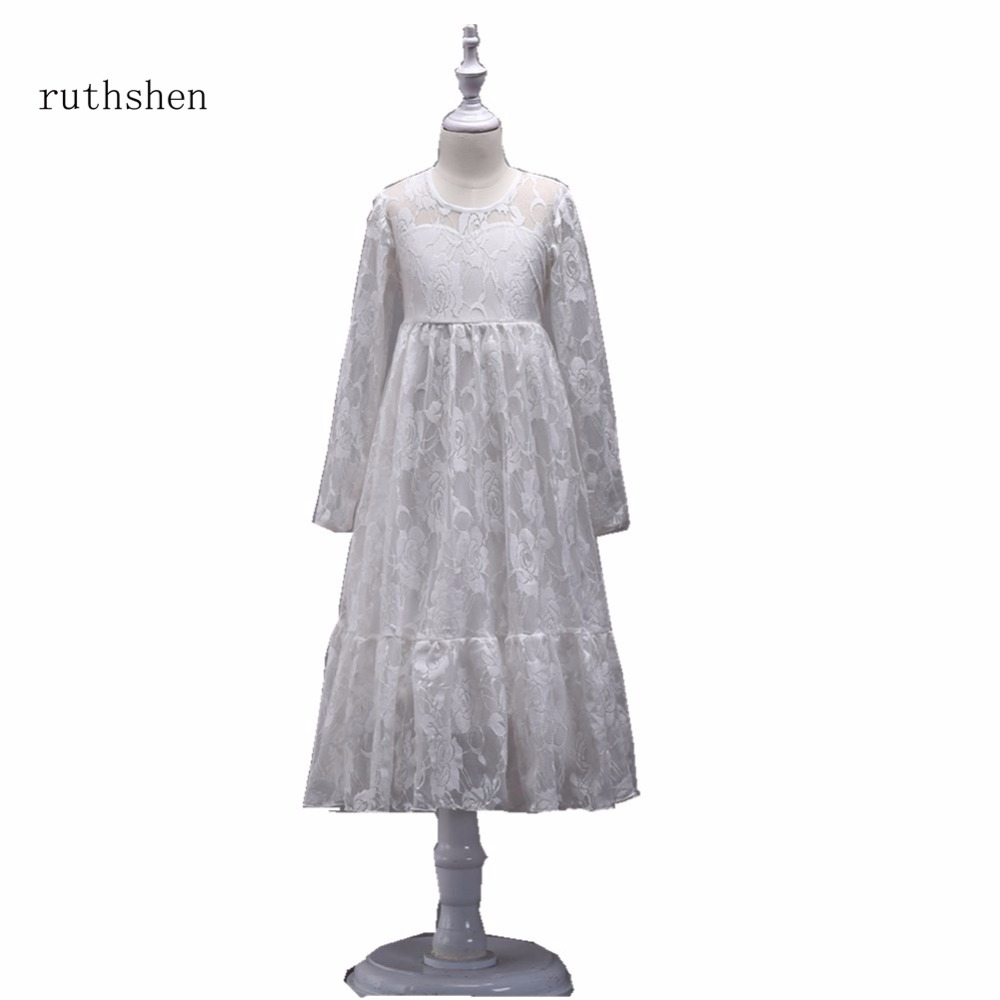 ruthshen A Line New   Flower     Girl     Dresses   Lace Kid   Dress   Real Photo Pageant Gowns For   Girls   Weddings Cheap Kids Prom   Dresses   2018