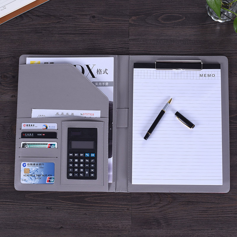 A4 File Folder Notebook Briefcase with Calculator Padfolio PU Leather Binder Manager Document Organizer Classeuer Hand Clip File