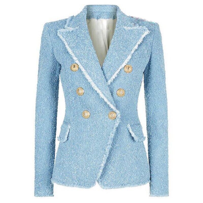 En À Veste Double Boutons Métal Lxunyi Longues Bleu Manches Blazer Printemps Mince Formelle Boutonnage Manteau Femme Automne Costume Femmes BrodCxe