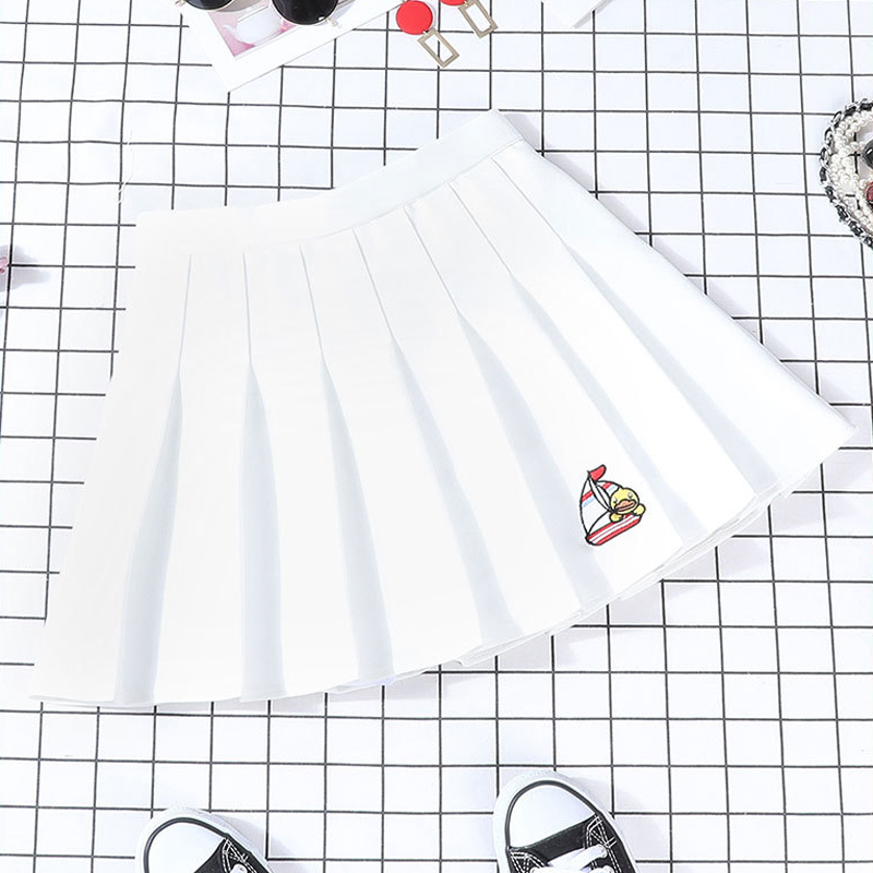 2019 New Autumn Skirts Womne Harajuku Cartoon Pleated Skirts Loose Stretch Skirts Cotton Sweet Cute Little Yellow Duck Skirts