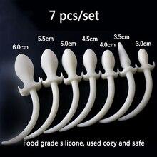 7pcs set 100 pure soft silicone anal plug fox tail big noctilucent butt plug long tail