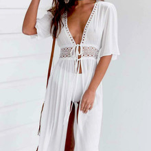 Bikini Cover up Solid Hollow out Beach Dress Summer Chiffon