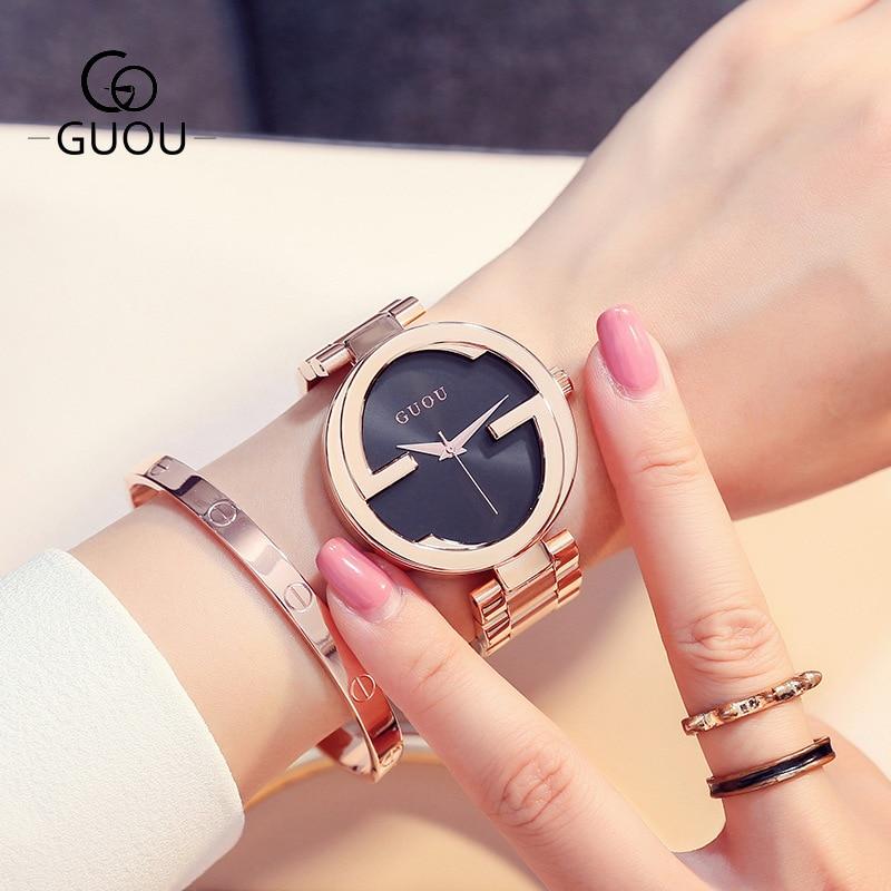 купить Women watches top brand luxury GUOU Ultra Thin Gold Steel Watches Women Dress Quartz Lovers Watch montre homme relojes mujer онлайн