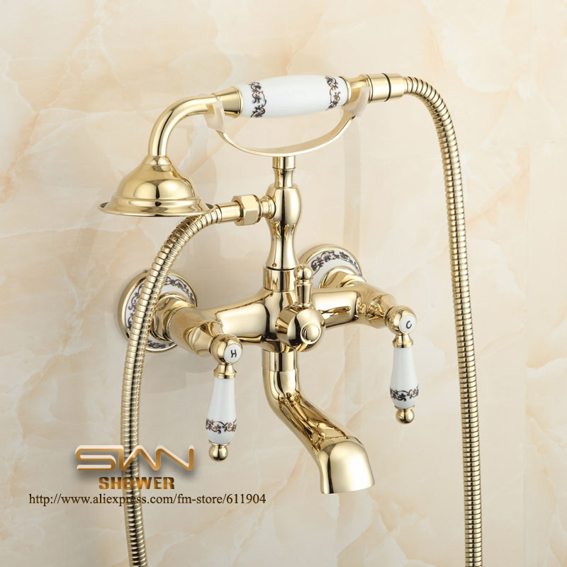 Aliexpress.com : Buy Chinese Ceramic Style Bathroom Clawfoot Bathtub Faucet  Dual Lever Handle Handheld Shower Faucet Mixer Tap 1107009C From Reliable  ...