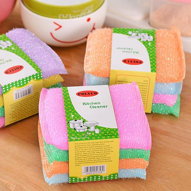 Óleo antiaderente cozinha esfregão de limpeza do óleo toalha de pano de lavagem de pano de pano para lavar escova pano tigela esponja 4 pcs