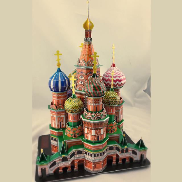 DIY modelo de Arquitetura Do Mundo feito Enorme edifício 3D DIY modelo de Papel brinquedos educativos Vasily Kim Caçoa o Presente presente de Natal