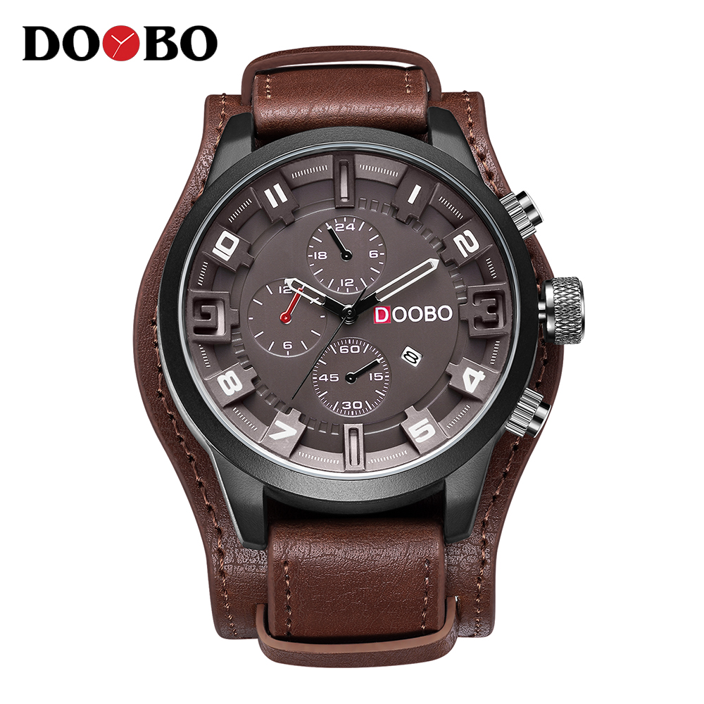 2018 Top Brand DOOBO Army Military Sports Quartz Mens Watches Luxury Leather Men Watch Casual Sport Clock Relogio Masculino 2018 men sport watch chronograph leather strap quartz army military watches clock men top brand luxury male relogio masculino