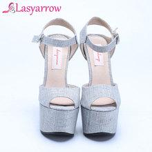 Lasyarrow Women Sandals Platform Gladiator High Heels Sexy Shoes Woman Fashion 16CM Heels Plus Size 30-48 Sandalia FemininaRM035