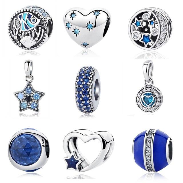 7b429c8c2 ... greece original 925 sterling silver beads charm heart star spacer blue  crystal charms fit pandora bracelets