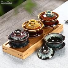 NOOLIM керамическая чайная чашка, Цветная Керамическая чайная супница, китайский чайный набор кунг-фу, ручная роспись, ретро фарфор, персональная чашка с крышкой