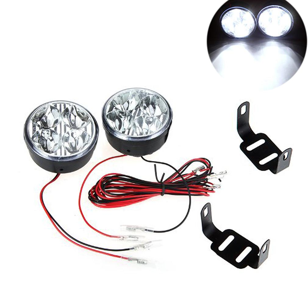 10x) 2pcs Universal 12V White 4 LED Round Fog Day Driving Lamp universal white 16 led day driving lights for car dc 12v pair