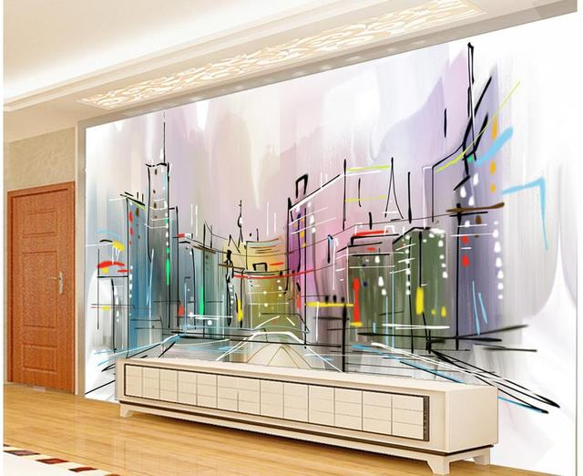 3d Customized Wallpaper Fashion Hand Painted Watercolor Of The City TV Photo Wall Murals