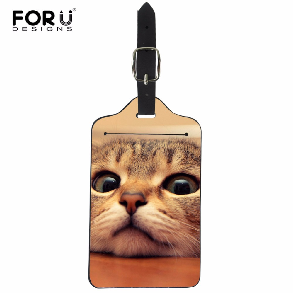 FORUDESIGNS Lovely Cat Practical ID Tag Name Tag Label PU Leather Travel Luggage Baggage Holder Suitcase Card Bag Accessories