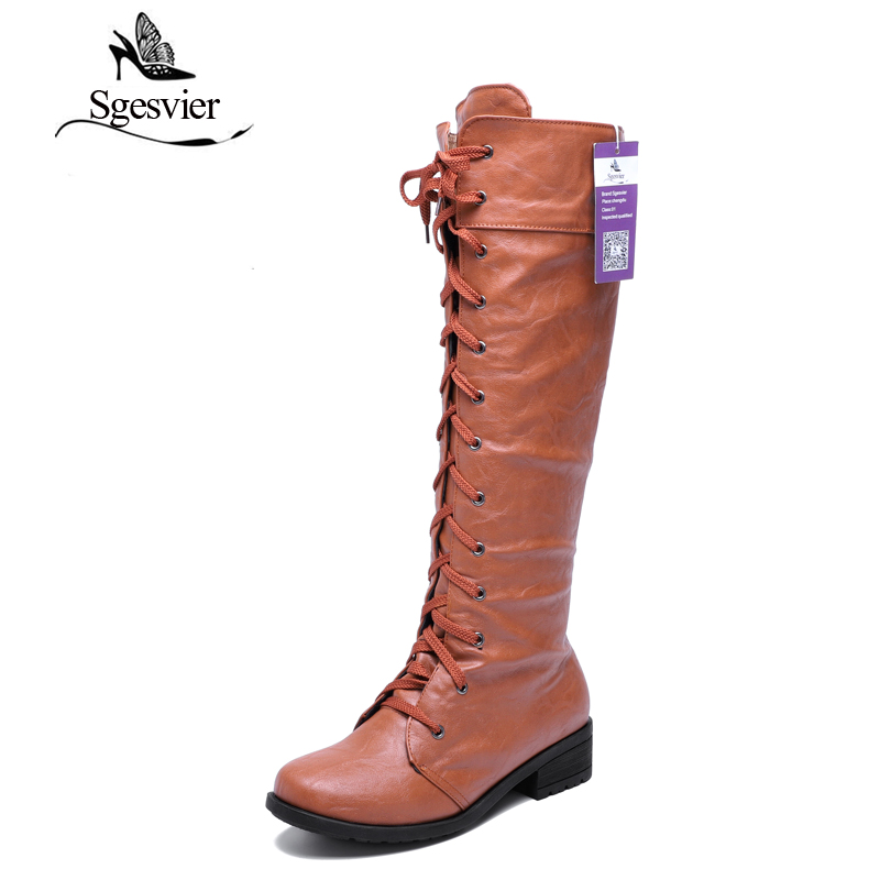 SGESVIER Women Boots Black White Cosplay Boots Knee High Boots Fashion Shoes For Women Lace up Motorcycle Boots Size 34-43 OX008 1159 fashion ice silk lace sleepshirts for women deep pink black free size