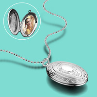 Woman 925 Sterling Silver Necklace Fashion Photo Box Pendant Lady Trendy Silver Jewelry Solid Silver Necklace