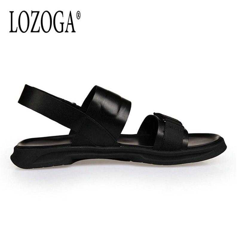 Qualité Sandales Hommes Luxe D'été Noir Casual Loisirs Cuir Confortables Mens À Lozoga Ouvert Bout De Véritable Plage Chaussures En Marque 60wW56Fdq