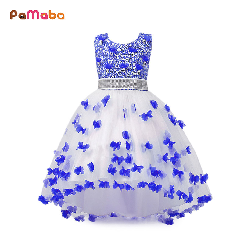 PaMaBa Exquisite Girls Butterflies Design Performance Dress Sequins and Crystals Bodice Rhinestone Belt Festival Princess Dress butterflies and moths
