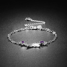 NEWBUY 2017 Fashion Women Silver Plated Cute Anklets With Purple Butterfly Wholesale Sexy Female Summer Jewelry