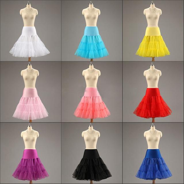 Súper ventas colorida no aros enaguas de deslizamiento para una línea vestido de boda corto de novia vestido de novia accesorios crinolina en Stock P4