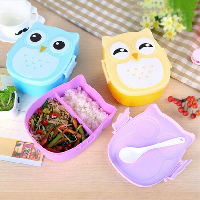 Cute Owl Plastic Children Students Cartoon Lunch Case Bento Box Portable Picnic Dinnerware Food-Safe Children Gifts