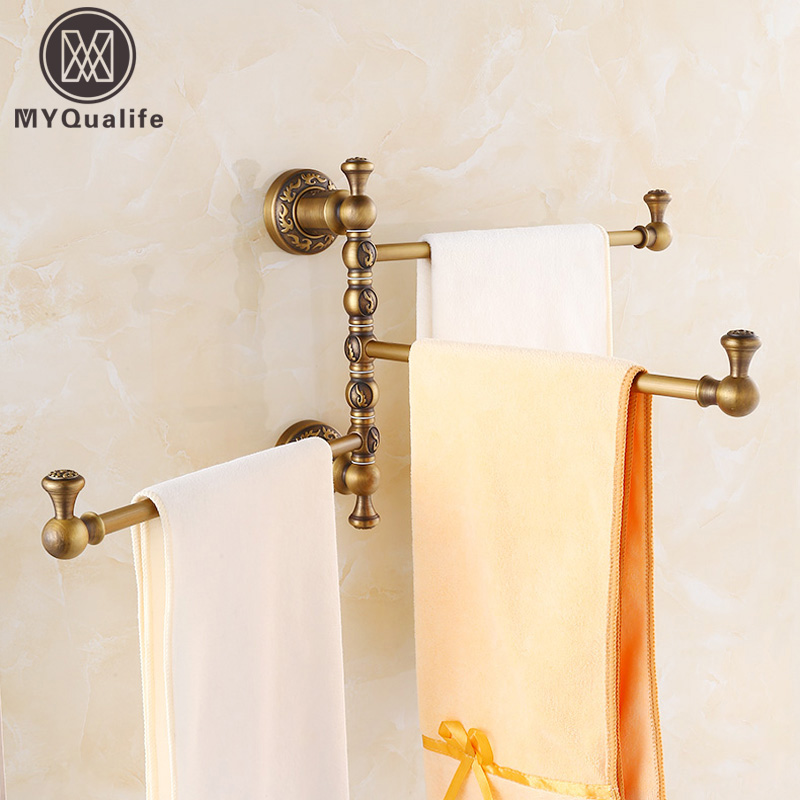 Artistic Retro Style 2-4 Rods Bath Towel Bar Wall Mounted Antique Brass 360 degree Rotation Towel Holder artistic wall mounted retro style bath towel shelf antique brass bathroom towel holder towel bar