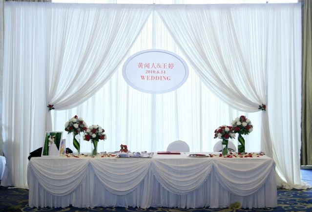 Beatiful White Wedding Backdrop For Pipe And Drape Decor