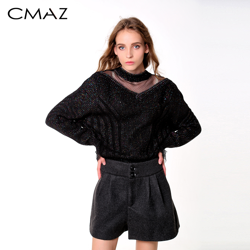 CMAZ Female Sweater Autumn Winter 2018 Solid Lantern Sleeve Casual Tops O Neck Long Sleeve Women Pullovers New MX18D5542