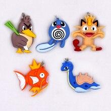 4-7cm 5 Style Pikachu Series Keychain Monsters Key Holder Go Ring Pendant 3D Mini Lapras Poliwag Magikarp Meowth
