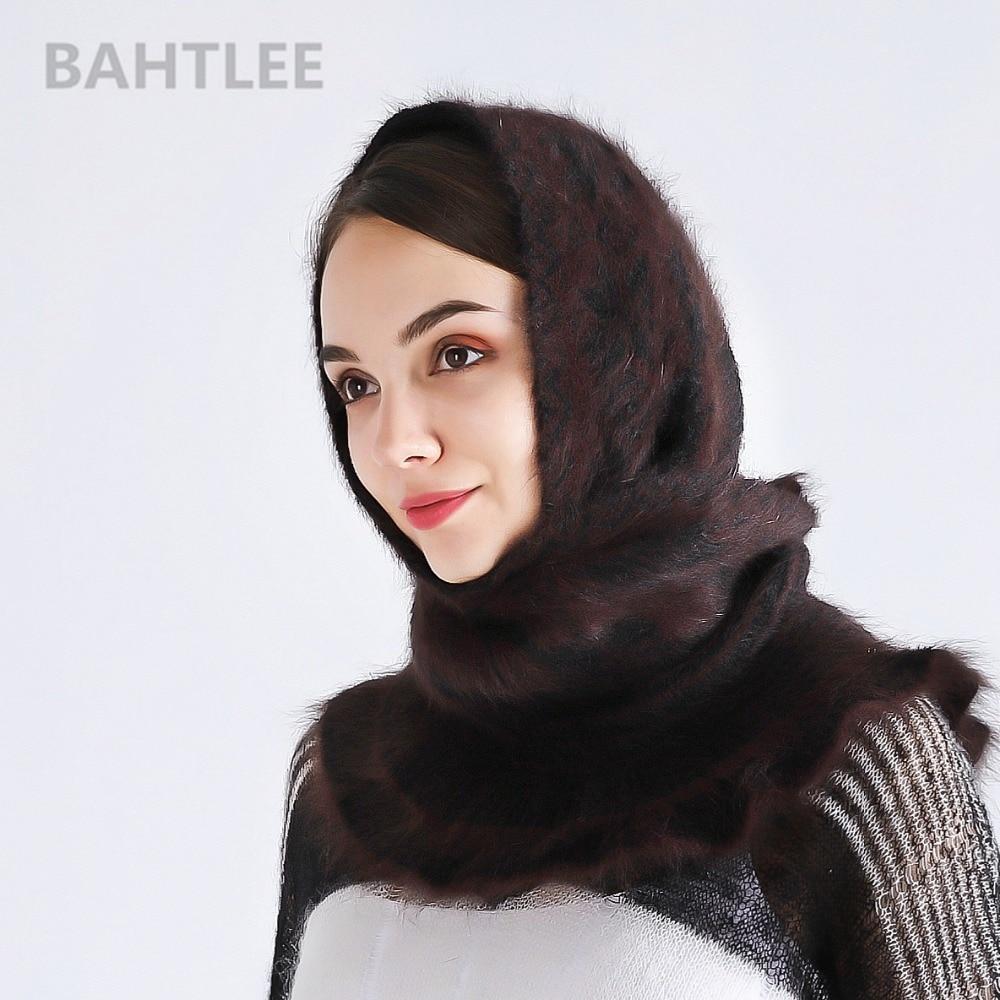 Image 2 - BAHTLEE winter Muslim women girl angora rabbit turban hijab  Poncho triangular shawl knitted scarf real Fur Wrap cloak capeIslamic  Clothing