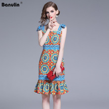 Banulin 2019 New Fashion Runway Summer Dress Womens Bow Belted Gorgeous Floral Print Ruffles Sexy Party Slim Elegant Dresses
