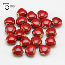 14mm Big Hole Flower Glazed Heart Ceramic Bead For Jewelry Making Bracelet DIY Perles Loose Spacer Porcelain Beads WholesaleU401